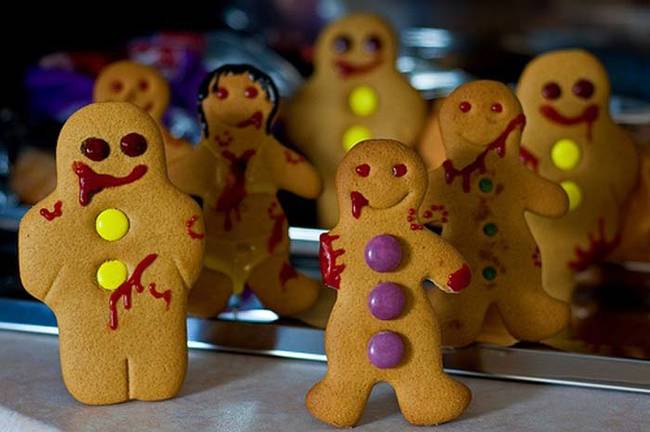 Risen from the grave, these gingerbread men would like some of your delicious flesh.