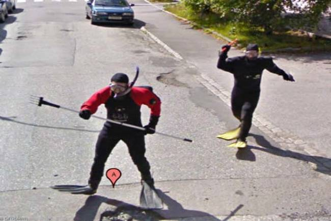 Scuba divers attacking the Google Maps car.