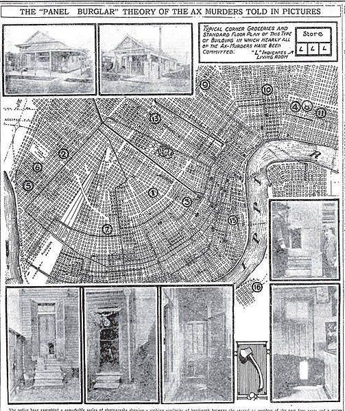 An illustrated map of The Axeman of New Orleans' murders.