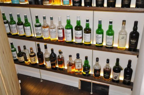He's got six shelves full of some amazing varieties of scotch