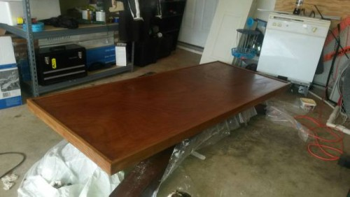 The first step involved refurnishing an old table top